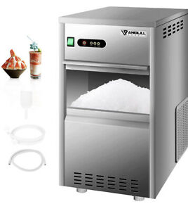 Anbull 110v Commercial Snowflake Crushed Ice Maker 88lbs 24h Stainless Steel