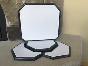 4pc Jewelry Display Set Faux White Leather Black Marble Retail Merchandise Stand