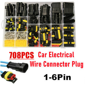 43 Set 708pcs Waterproof Car Auto Electrical Wire Connector Plug Kit 1 6 Pin Way