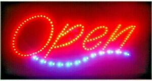 New Bright Led Neon Light Dotted Open Business Sign Large Billboard 25 X 14