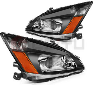 Headlights Headlamp Assembly For 2003 2007 Honda Accord Black Front Pair Replace Fits 2003 Honda Accord Coupe