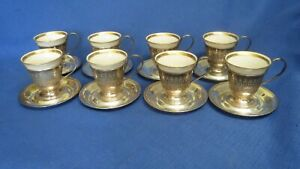 8 International Sterling Silver And Lenox Demitasse Cups