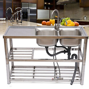Commercial Home Stainless Steel Kitchen Sink 2 layer Storage Rack Silver Us