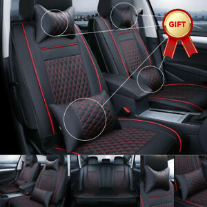 Car Seat Covers 5 Sits Pu Leather Cushion Protector Full Set Cover Universal Fit