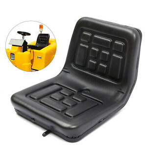 Tractor Seat Universal Lawn Mower Tractor Seat With Slide Track Pu Leather Black