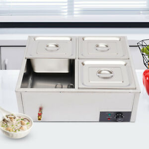4 pan Countertop Food Warmer Electric Steam Table For Buffet Commercial 850w Usa