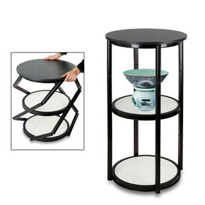 41 7 Portable Round Aluminum Spiral Counter Display Box With Acrylic Shelf