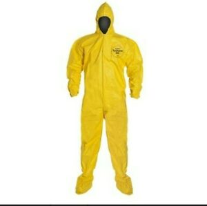 Dupont Tychem Chemical Qc Fabric Coverall With Standard Fit Hood Medium Qty 12