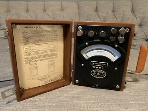 Vintage Weston Ac dc Ammeter Model 370 In Wooden Case Made In The Usa