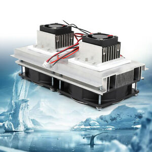 12v Refrigeration Double Fan Cooler Thermoelectric Peltier Semiconductor Set Us