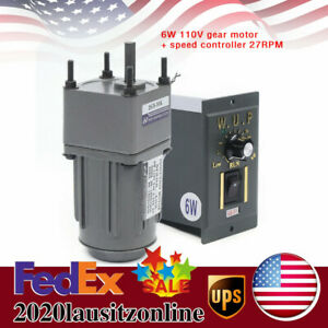 Reversible Ac Gear Motor Electric Variable Speed Controller 27rpm Ac110v Us