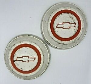 Chevy C10 Dog Dish Cap Hubcaps 1967 1968 Pickup Truck White Red Bowtie
