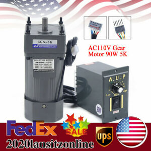 Ac Gear Motor Electric Variable Speed Controller Torque 0 270rpm 90w 110v Us