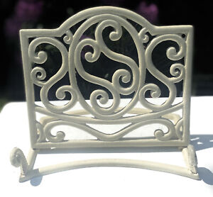 Antique Style White Classic Ornate Cast Iron Menu Book Music Holder Stand Rack