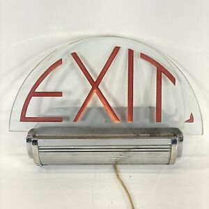 Antique Lighted Electric Theater Exit Sign Chrome Glass Retro