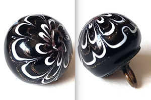 Antique Black Glass Button Nailsea Ball With Goldstone Lovely