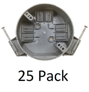 25 Pack 4 Ceiling Round Electrical Box New Work With Nails 20 Cubic Inch Gray