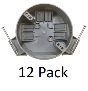 12 Pack 4 Ceiling Round Electrical Box New Work With Nails 20 Cubic Inch Gray
