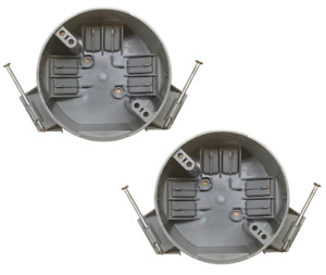 2 Pack 4 Ceiling Round Electrical Box New Work With Nails 20 Cubic Inch Gray