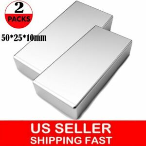 2pc Block Magnets Super Strong N52 Neodymium Large Magnet 2 x1 x0 39 Rare Earth