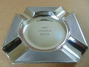 Mappin Webb Vintage Sterling Silver Engine Turned Ash Tray 1956