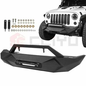 Steel Front Winch Bumper For Jeep Wrangler Jk 2007 2018 Textured Guard Pickup