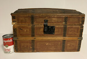 Antique Small Wooden Steam Trunk Doll Or Salesman Sample Wooden Dome Lid