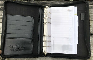 Day One Franklin Covey Black 6 Ring Compact Binder Organizer Card Holder