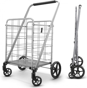 Newly Released Grocery Utility Flat Folding Shopping Cart With Large Silver