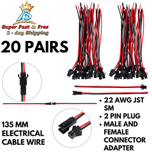 20 Pairs Electrical Cable Wire 22 Awg 2 Pin Plug Male Female Connector Adapter