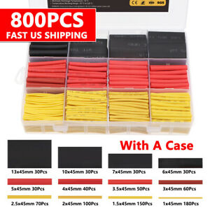 800x Heat Shrink Tubing Insulation Shrinkable Tube 2 1 Wire Cable Wrap Sleeve Us
