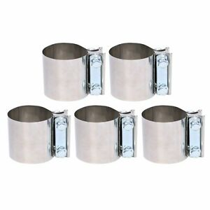 5pcs 2 Stainless Lap Joint Exhaust Band Clamp Clamps For Catback Muffler
