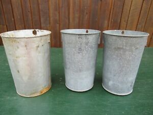 Old 3 Maple Syrup Sap Pail Buckets Tin And Galvanized Planters Decor Vintage