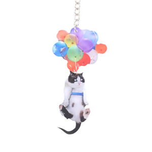 Cartoon Cute Cat Car With Colorful Balloon Hanging Ornament Decoration For Auto