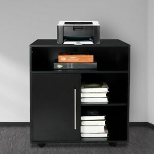 Storage Cabinet Printer Stand With Shelves Rolling Mobile Rack Office Home Black