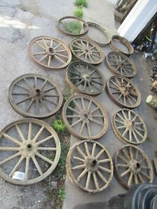 Lot Of Antique Wood Spoke Rims Ford Model T Different Size Wheels