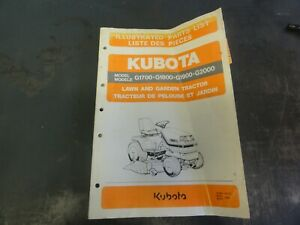 Kubota G1700 G1800 G1900 G2000 Lawn And Garden Tractor Parts List Manual