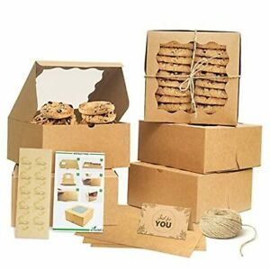 Premium Kraft Cookie Boxes 6x6x3 Small Cookie Boxes With Window Bakery 50