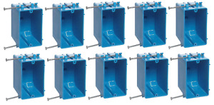 10 Pack 1 gang B118a New Work Electrical Outlet switch Box 18 Cubic Inch Nail On
