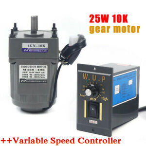 Ac Gear Motor Electric Motor Variable Speed Controller 1 10 135rpm 25w Ac110v