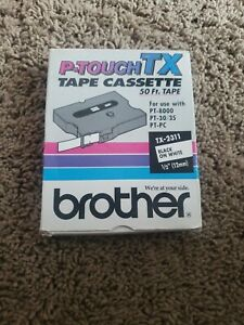 Brother Tx2311 1 2 12mm Black On White P touch Tape For Pt4000 Pt 4000