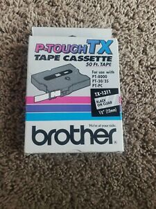 Genuine Brother P touch Tx 1311 Black On Clear 1 2 x50 Label Tape
