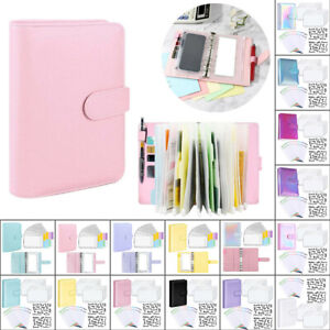 Pu Leather Notebook A6 Ring Binder Budget Planner Organizer Cover Pockets Lables