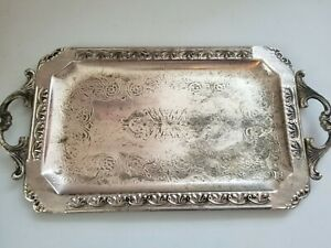 Vintage Silverplate Serving Tray With Handles Ornate Rectangle 14 Inch