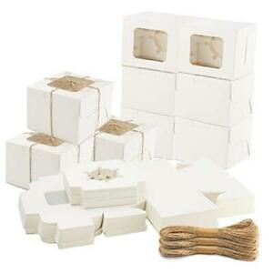 60 Pcs 3 5x3 5x3 Inch Bakery Boxes With Window Cookie Boxes For White
