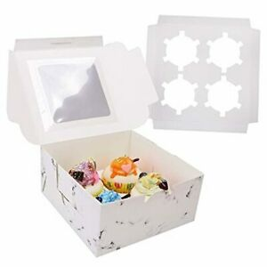 24 Pack White Marble Printed Cookie Bakery Boxes With Window Pastry Box 24pcs