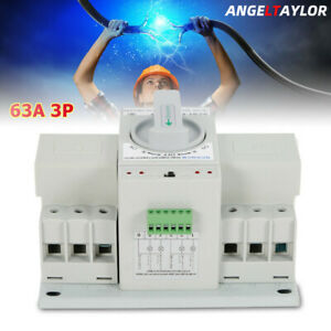 Dual Power Automatic Transfer Switch Self Cast 63a 3p Cb Level Toggle Switch