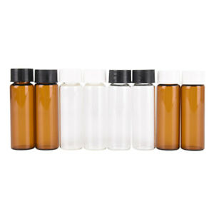 2x 15ml Small Lab Glass Vials Bottle Clear Container With Screw Cap B Sc