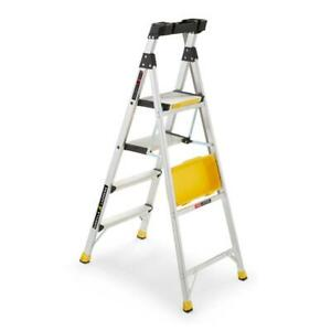 Dual Platform Ladder 5 5 Ft 300 Lb Capacity Foldable Aluminum Tray Included