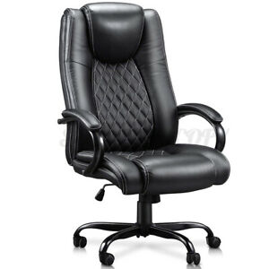 440lb High Back Leather Executive Task Computer Chair Wide Seat W thick Paddi